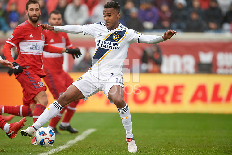 Bridgeview, IL - Saturday April 14, 2018: Ola Kamara during a regular season Major League Soccer (MLS) match between the Chicago Fire and the LA Galaxy at Toyota Park.  The LA Galaxy defeated the Chicago Fire by the score of 1-0.