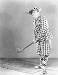 Man in a checkered golf outfit