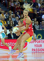 02.08.2017 England's Chelsea Pitman in action during a netball match between Australia and England at the Brisbane Entertainment Centre in Brisbane Australia. Mandatory Photo Credit ©Michael Bradley.
