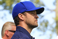 Singer Justin Timberlake on the 1st tee for the Captains/Celebrity scramble exhibition during Monday's Practice Day of the 39th Ryder Cup at Medinah Country Club, Chicago, Illinois 25th September 2012 (Photo Eoin Clarke/www.golffile.ie)