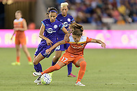 Andressa (17) of the Houston Dash and Kristen Edmonds (12) of the Orlando Pride battle for control of the ball on Friday, May 20, 2016 at BBVA Compass Stadium in Houston Texas. The Orlando Pride defeated the Houston Dash 1-0.
