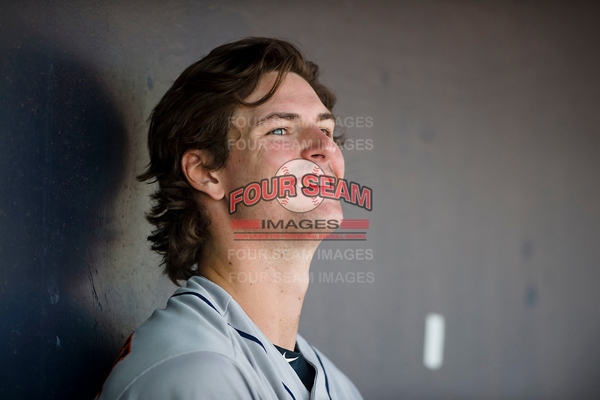 Scottsdale Scorpions starting pitcher Forrest Whitley (11), of the Houston Astros organization, in the dugout during an Arizona Fall League game against the Peoria Javelinas at Peoria Sports Complex on November 15, 2018 in Mesa, Arizona. Peoria defeated Scottsdale 2-1. (Zachary Lucy/Four Seam Images)