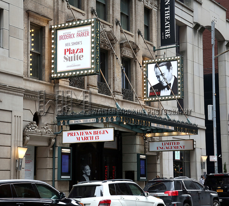 """Theatre Marquee for the Neil Simon Play """"Plaza Suite"""" starring Matthew Broderick and Sarah Jessica Parker on March 4, 2020 at the Hudson Theatre in New York City."""