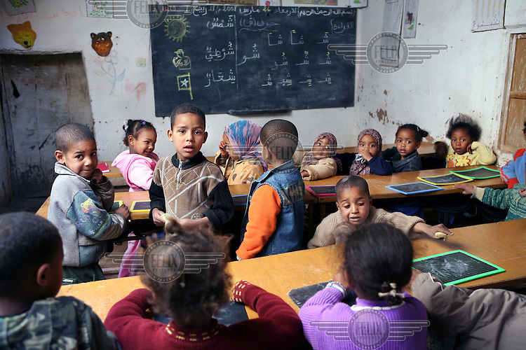 Children in a primary school consisting of one classroom in the village Tichfert in the district of Er-Rachidia.
