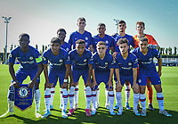 Chelsea U19 pre match team photo (back row l-r) Tariq Lamptey, Jack Wakely, Faustino Anjorin, Armando Broja & Goalkeeper Karlo Ziger (front row l-r) Clinton Mola, Ian Maatsen, Thierno Ballo, Lewis Bate, George McEachran & Henry Lawrence of Chelsea U19 during the UEFA Youth League match between Chelsea U19 and Valencia Juvenil A at the Chelsea Training Ground, Cobham, England on 17 September 2019. Photo by Andy Rowland.