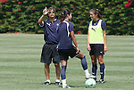 21 August 2009: Los Angeles head coach Abner Rogers (left) with Han Duan (CHN) (center) and Stephanie Cox (right). The Los Angeles Sol held a training session at the Home Depot Center in Carson, California one day before playing Sky Blue FC in the inaugural Women's Professional Soccer Championship Game.