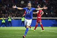 Fabio Quagliarella of Italy celebrates after scoring on penalty third goal for his side <br /> Parma 26-03-2019 Stadio Ennio Tardini <br /> European Qualifiers Qualifying round <br /> Italy - Liechtenstein  <br /> Photo Image sport/Insidefoto