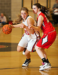 02/11/11--Clackamas' Shelby Vasconcellos-Mattocks dribbles past Oregon City's Melissa Taylor at Clackamas High School..Photo by Jaime Valdez