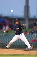 Juan Minaya #29 of the Lancaster JetHawks pitches against the Lake Elsinore Storm at The Hanger on August 2, 2014 in Lancaster, California. Lake Elsinore defeated Lancaster, 5-1. (Larry Goren/Four Seam Images)
