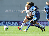 Aminata Diallo of France in action against Sherry McCue of England during the UEFA Womens U19 Final at Parc y Scarlets Saturday 31st August 2013. All images are the copyright of Jeff Thomas Photography-www.jaypics.photoshelter.com-07837 386244-Any use of images must be authorised by the copyright owner.