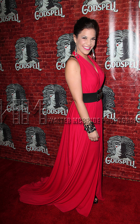 Lindsay Mendez.attending the Opening Night Performance After Party for the Broadway Revival of 'Godspell' at Planet Hollywood in New York City.