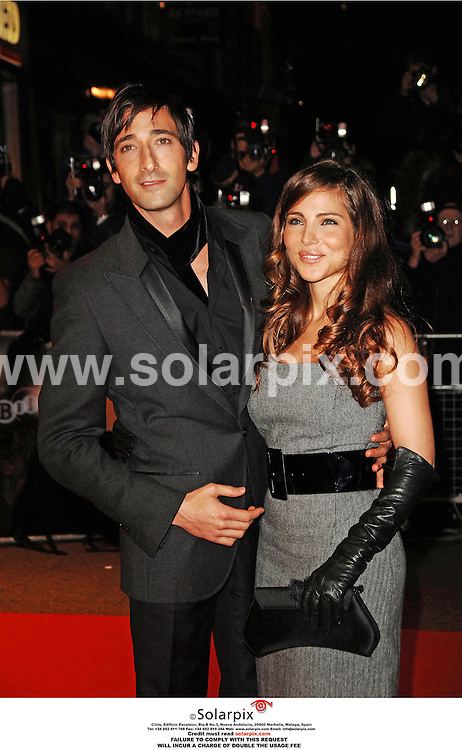 "ALL ROUND PICTURES FROM SOLARPIX.COM.Adrien Brody and Elsa Pataky arrive for the UK premiere of Hollywood Land in Leicester Square, London on 30.10.06..JOB REF: 2995/FMF..""MUST CREDIT SOLARPIX.COM OR DOUBLE FEE WILL BE CHARGED"".."