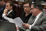 Nevada Assembly members Heidi Swank, D-Las Vegas, and James Oscarson, R-Pahrump, work in committee at the Legislative Building in Carson City, Nev., on Wednesday, Feb. 27, 2013..Photo by Cathleen Allison