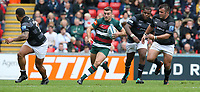 Leicester Tigers' George Ford chased by Newcastle Falcons' George McGuigan (right) <br /> <br /> Photographer Stephen White/CameraSport<br /> <br /> Gallagher Premiership Round 2 - Leicester Tigers v Newcastle Falcons - Saturday September 8th 2018 - Welford Road - Leicester<br /> <br /> World Copyright &copy; 2018 CameraSport. All rights reserved. 43 Linden Ave. Countesthorpe. Leicester. England. LE8 5PG - Tel: +44 (0) 116 277 4147 - admin@camerasport.com - www.camerasport.com