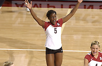 24 September 2005: Njideka Nnamani during Stanford's 30-22, 31-29, 30-26 win against UCLA Bruins at Maples Pavilion in Stanford, CA