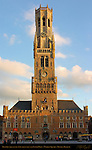 Belfort Bell Tower and Cloth Hall 1240, North Side at Sunset, Market Square, Bruges, Brugge, Belgium
