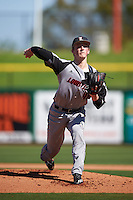 Louisville Cardinals starting pitcher Michael McAvene (41) delivers a pitch during a game against the Ball State Cardinals on February 19, 2017 at Spectrum Field in Clearwater, Florida.  Louisville defeated Ball State 10-4.  (Mike Janes/Four Seam Images)