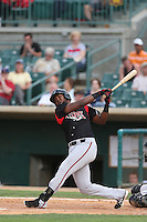 Duanel Jones #20 of the Lake Elsinore Storm bats against the Lancaster JetHawks at The Hanger on August 2, 2014 in Lancaster, California. Lake Elsinore defeated Lancaster, 5-1. (Larry Goren/Four Seam Images)