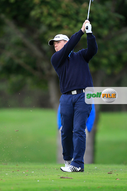 Michael Collins (Mallow Golf Range) on the 12th tee during Round 4 of The Cassidy Golf 103rd Irish PGA Championship in Roganstown Golf Club on Sunday 13th October 2013.<br /> Picture:  Thos Caffrey / www.golffile.ie