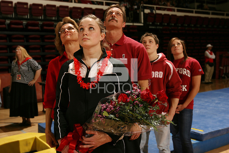 7 March 2008: Stanford Cardinal Stephanie Gentry during Stanford's 196.775-195.775-196.050 win against the Alabama Crimson Tide and the Nebraska Huskers at the Maples Pavilion in Stanford, CA.