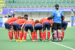 The Hague, Netherlands, June 10: Players of Korea huddle together prior to the field hockey group match (Men - Group B) between Germany and Korea on June 10, 2014 during the World Cup 2014 at Kyocera Stadium in The Hague, Netherlands. Final score 6-1 (3-0) (Photo by Dirk Markgraf / www.265-images.com) *** Local caption ***
