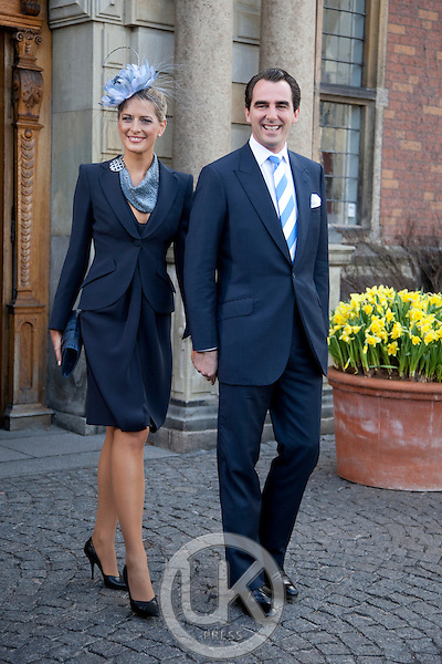 Prince Nikolaos and Princess Tatiana of Greece attend.The Christening of the Danish Royal Twins, at Holmens Church, Copenhagen..The twins were christened, Prince Vincent Frederik Minik Alexander and Princess Josephine Sophia Ivalo Mathilda