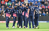 Jun 6th, The SSE SWALEC, Cardiff, Wales; ICC Champions Trophy; England versus New Zealand;  James Neesham of New Zealand is dismissed and England celebrate
