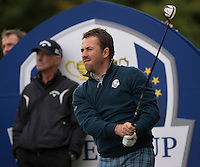 23.09.2014. Gleneagles, Auchterarder, Perthshire, Scotland.  The Ryder Cup.  Graeme McDowell (EUR) watches his tee shot on the 11th during his practice round.