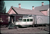 RGS Goose #7 parked at Durango depot where D&amp;RGW passenger cars are also parked.<br /> RGS  Durango, CO  Taken by Kindig, Richard H. - 6/30/1939