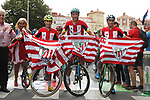 Mikel Bizkarra (ESP) Euskadi-Murias Omar Fraile Matarranz (ESP) Astana and Jonathan Lastra Martinez (ESP) Caja Rural-Seguros RGA dressed in the club kit lead out the start of Stage 13 of La Vuelta 2019 starting in Athletic Club Bilbao's Estadio de San Mames and running 166.4km from Bilbao to Los Machucos, Spain. 6th September 2019.<br /> Picture: Luis Angel Gomez/Photogomezsport | Cyclefile<br /> <br /> All photos usage must carry mandatory copyright credit (© Cyclefile | Luis Angel Gomez/Photogomezsport)