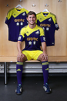 Pictured: Ben Davies with away kit.<br /> Re: Official launch of the 2013-2014 Swansea City Football Club kit launch, with sponsors Goldenway GWFX at the Liberty Stadium, Swansea, south Wales. Friday 28th of June 2013