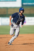 Josh Fuentes (21) of the Asheville Tourists hustles towards third base against the Kannapolis Intimidators at Intimidators Stadium on June 28, 2015 in Kannapolis, North Carolina.  The Tourists defeated the Intimidators 6-4.  (Brian Westerholt/Four Seam Images)