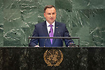 DSG meeting<br /> <br /> AM Plenary General DebateHis<br /> <br /> His  Excellency Andrzej DUDA President of the Republic of Poland