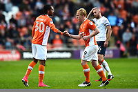 Blackpool's Nathan Delfouneso congratulates team-mate Mark Cullen as he is substituted<br /> <br /> Photographer Richard Martin-Roberts/CameraSport<br /> <br /> The EFL Sky Bet League Two Play-Off Semi Final First Leg - Blackpool v Luton Town - Sunday May 14th 2017 - Bloomfield Road - Blackpool<br /> <br /> World Copyright &copy; 2017 CameraSport. All rights reserved. 43 Linden Ave. Countesthorpe. Leicester. England. LE8 5PG - Tel: +44 (0) 116 277 4147 - admin@camerasport.com - www.camerasport.com