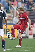 Foxborough, Massachusetts - June 17, 2017: In a Major League Soccer (MLS) match, Chicago Fire (red) defeated the New England Revolution (blue/white) 2-1 at Gillette Stadium.