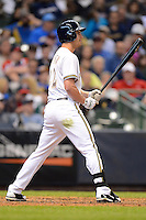 Milwaukee Brewers outfielder Logan Schafer #22 during a game against the Minnesota Twins at Miller Park on May 27, 2013 in Milwaukee, Wisconsin.  Minnesota defeated Milwaukee 6-3.  (Mike Janes/Four Seam Images)