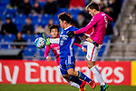Kitchee Defender Helio Jose De Souza (R) fights for the ball with Ulsan Hyundai Forward Lee Jongho (L) during their AFC Champions League 2017 Playoff Stage match between Ulsan Hyundai FC (KOR) vs Kitchee SC (HKG) at the Ulsan Munsu Football Stadium on 07 February 2017 in Ulsan, South Korea. Photo by Chung Yan Man / Power Sport Images