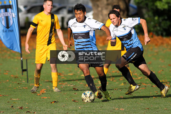 NELSON, NEW ZEALAND - MAY 16:  The Sprig & Fern Tahuna 1st XI v Motueka ITM 1st XI at The Botancis on May 16, 2015 in Nelson, New Zealand. (Photo by Marc Palmano/Shuttersport Limited)