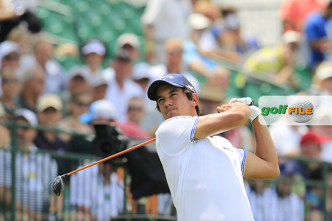 Matteo Manassero (ITA) tees off the 10th tee during Wednesday's Practice Day of the 2016 U.S. Open Championship held at Oakmont Country Club, Oakmont, Pittsburgh, Pennsylvania, United States of America. 15th June 2016.<br /> Picture: Eoin Clarke | Golffile<br /> <br /> <br /> All photos usage must carry mandatory copyright credit (&copy; Golffile | Eoin Clarke)