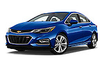 Stock pictures of low aggressive front three quarter view of 2018 Chevrolet Cruze Premier 4 Door Sedan Low Aggressive