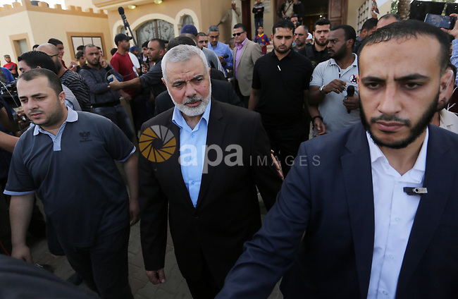 Palestinian Hamas Chief Ismail Haniyeh attends the funeral of three Palestinian teenagers who were killed in an Israeli air strike on the Gaza Strip during their funeral in Deir el-Balah in central of the Gaza Strip on October 29, 2018. Photo by Ashraf Amra