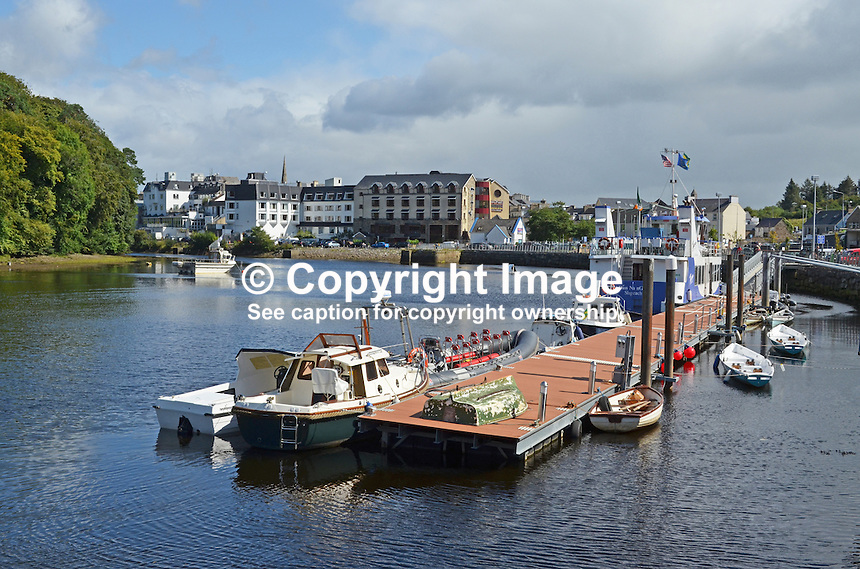 The Quay, Donegal Town, Co Donegal, Rep of Ireland. The River Eske enters the sea at Donegal Town, 201408183595<br />
