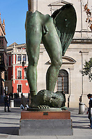 Low angle view of sculpture, Gambe Alate, 2002, by Igor Mitoraj, Seville, Spain, pictured on December 30, 2006, in the afternoon. Polish sculptor Igor Mitoraj (b.1944) takes classical themes and gives them a contemporary twist. His use of fragmented bodies reflects the state of many original classical sculptures. Picture by Manuel Cohen.