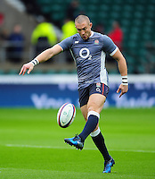 Mike Brown of England in action during the pre-match warm-up. Old Mutual Wealth Series International match between England and South Africa on November 12, 2016 at Twickenham Stadium in London, England. Photo by: Patrick Khachfe / Onside Images
