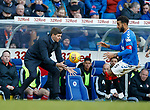 01.02.2020 Rangers v Aberdeen: Steven Gerrard and Connor Goldson compete for a loose ball