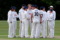 Ben Allison (centre) is congratulated on taking a wicket during Essex CCC 2nd XI vs Surrey CCC 2nd XI, Second XI Championship Cricket at Billericay Cricket Club on 16th May 2017