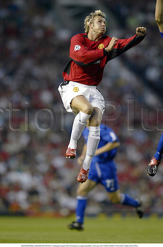 DAVID BECKHAM, MANCHESTER UNITED 5 v Zalaegerszeg 0, UEFA Champions League Qualifier, 2nd Leg, Old Trafford 020827 Photo:Neil Tingle/Action Plus...Soccer 2002.Football