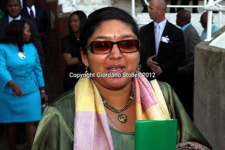 "DURBAN - 9 May 2012 - South Africa's Department of Home Affairs spokeswoman Manusha Pillai arrives at the state funeral of the late Public Service and Administration Minister Radhakrishna Lutchmana ""Roy"" Padayachie held in Durban's Kingsmead cricket stadium. Padayachie died on May 4  in Addis Ababa while attending an African Peer Review Mechanism meeting..PIcture: Giordano Stolley/Allied Picture Press/APP"