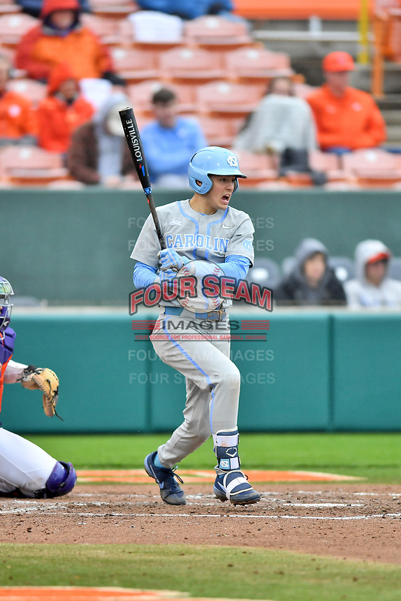 North Carolina Tar Heels second baseman Danny Serretti (1) swings at a pitch during a game against the Clemson Tigers at Doug Kingsmore Stadium on March 9, 2019 in Clemson, South Carolina. The Tigers defeated the Tar Heels 3-2 in game one of a double header. (Tony Farlow/Four Seam Images)