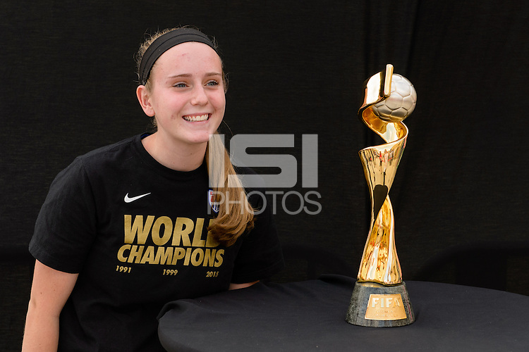 Chicago, IL - Saturday July 30, 2016: Fan, 2015 Women's World Cup Trophy prior to a regular season National Women's Soccer League (NWSL) match between the Chicago Red Stars and FC Kansas City at Toyota Park.